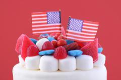 Happy Fourth of July celebration cake. Stock Photos
