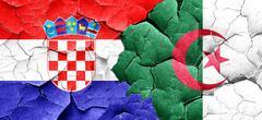 Croatia flag with Algeria flag on a grunge cracked wall Stock Illustration
