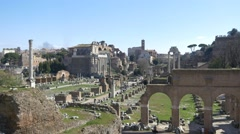 Roman forum ancient ruins historical landmark tourists historical value site 4k Stock Footage
