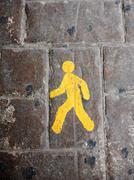 Yellow pedestrian lane sign - stock photo
