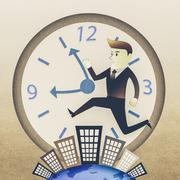 Conceptual image - Business man run on building in rush hours - stock illustration