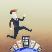 Conceptual image - Business man run on building in rush hours Stock Illustration