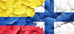 Colombia flag with Finland flag on a grunge cracked wall - stock illustration