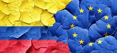 Colombia flag with european union flag on a grunge cracked wall - stock illustration