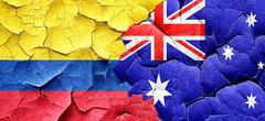 Colombia flag with Australia flag on a grunge cracked wall - stock illustration