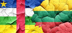 Central african republic flag with Lithuania flag on a grunge cr - stock illustration