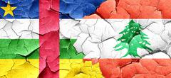 Central african republic flag with Lebanon flag on a grunge crac - stock illustration