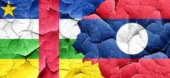 Central african republic flag with Laos flag on a grunge cracked - stock illustration