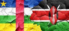 Central african republic flag with Kenya flag on a grunge cracke Stock Illustration