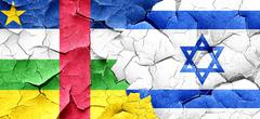 Central african republic flag with Israel flag on a grunge crack - stock illustration