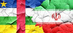 Central african republic flag with Iran flag on a grunge cracked - stock illustration
