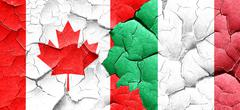 Canada flag with Italy flag on a grunge cracked wall - stock illustration