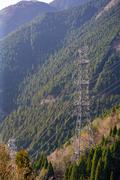 Steel tower of power-transmission line - stock photo