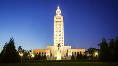 Louisiana State Capitol Building in Baton Rouge at Night - Time Lapse Stock Footage