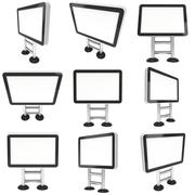 Info LCD screen floor stand set. Stock Illustration