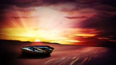 Abandoned Boat on the Beach Painting 4K Loop Stock Footage