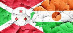 Burundi flag with Niger flag on a grunge cracked wall - stock illustration