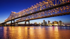 Crescent City Connection Bridge & New Orleans City Skyline at Night - Time Lapse Stock Footage