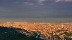 Panoramic view of turin skyline panning Stock Footage