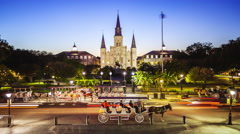 Jackson Square in New Orleans, Louisiana French Quarter at Night - Time Lapse Stock Footage
