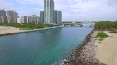 Aerial drone video Haulover inlet and jetty Stock Footage