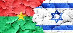 Burkina Faso flag with Israel flag on a grunge cracked wall - stock illustration