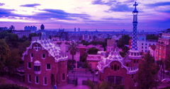 Barcelona skyline timelapse. Park Guell designed by Antoni Gaudi in Barcelona - stock footage