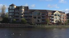 View of Belfast over the river Lagan, Belfast, Northern Ireland, UK Stock Footage