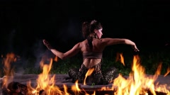 Dancer in the fire flames Stock Footage