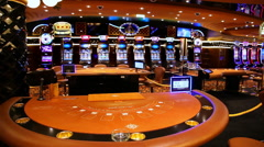 Interior of a casino with gaming blackjack gambling table Stock Footage