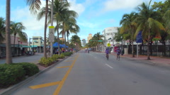 Ciclovia people riding bikes in Miami Beach Stock Footage