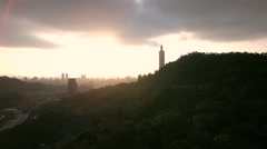 Inspiring drone aerial shot of Taipei city Skyline bright sun light at Sun down Stock Footage
