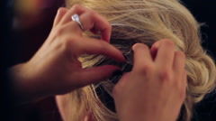 Hairstylist Bobbypin Stock Footage