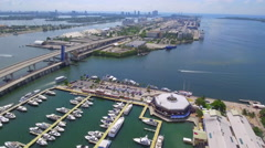Aerial tour Bayside and Port Miami 4k prores - stock footage