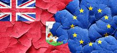 bermuda flag with european union flag on a grunge cracked wall - stock illustration