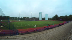 Cloudy Football Stadium Stock Footage