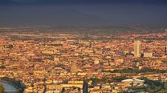 Turin skyline at sunrise aerial view Stock Footage