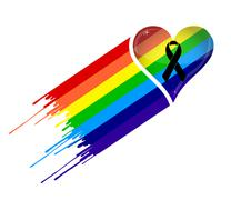black ribbon and pride rainbow heart flag. - stock illustration