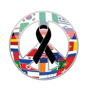 black ribbon over a peace flag symbol. - stock illustration