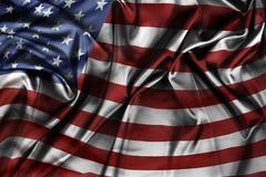 Closeup of silky American flag Stock Photos