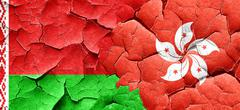 Belarus flag with Hong Kong flag on a grunge cracked wall Stock Illustration