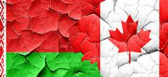 Belarus flag with Canada flag on a grunge cracked wall - stock illustration