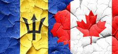 Barbados flag with Canada flag on a grunge cracked wall Piirros