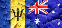 Barbados flag with Australia flag on a grunge cracked wall - stock illustration