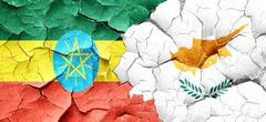 Ethiopia flag with Cyprus flag on a grunge cracked wall Stock Illustration