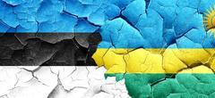 Estonia flag with rwanda flag on a grunge cracked wall Stock Illustration