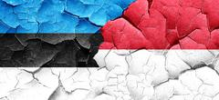 estonia flag with Indonesia flag on a grunge cracked wall - stock illustration