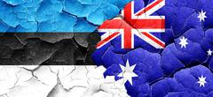 Estonia flag with Australia flag on a grunge cracked wall Stock Illustration