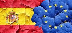 Spanish flag with european union flag on a grunge cracked wall - stock illustration
