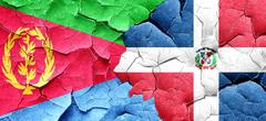 Eritrea flag with Dominican Republic flag on a grunge cracked wa - stock illustration